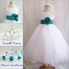 Gorgeous white/teal green satin tulle wedding flower girl party dress all sizes
