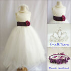 Lovely Ivory/plum purple satin pageant wedding flower girl party dress all sizes