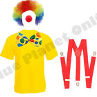 MENS ADULTS CLOWN CIRCUS FUNNY COMEDY FANCY DRESS COSTUME & WIG OUTFIT S-XL
