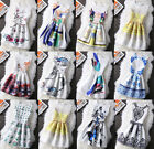 UK Womens Print Vintage Belted Skater Sleeveless Ladies Party Casual Dress