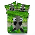 3D Bedding Quilt Doona Duvet Cover Bed Sheet Pillowcase Set Queen -Panda Playing