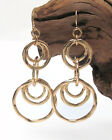 Hammered Round Metal Double Drop Circles Earrings  Fish Hook  Earrings