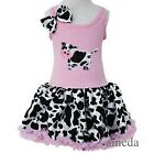 Baby Girls Lovely Cow Light Pink Cowgirl Tutu Dress