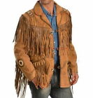 Brown Traditional Western Cowboy Red Indians Leather Jacket Fringe Beads Bones