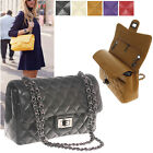 CELEBRITY DOUBLE FLAP QUILTED CHAIN SHOULDER BAG HANDBAG REAL LAMBSKIN LEATHER