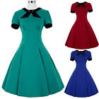 NEW STOCK Womens Short Sleeve Vintage 1950s 60s Swing Housewife Prom Party Dress