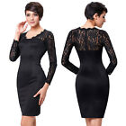 Black Lace Sexy Mini Bodycon Formal Prom Evening Party Pencil Dress 6 10 14 16+