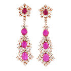 Genuine Ruby Gemstone Dangle Earrings 3.27Ct Diamond 18K Solid Rose Gold Jewelry