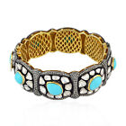 13.6ct Turquoise Diamond Bracelet 925Sterling Silver Gold Antique Bangle Jewelry
