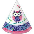Owl Birthday Party - 8 Cone Hats - Free Postage in UK