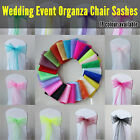 25 x Organza Sashes Chair Cover Bows Sheer Wedding Event White Black Silver