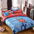 Kids Bedding Quilt Doona Duvet Cover Bed Sheet Pillowcase Set Queen --- Superman
