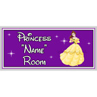 Personalised Disney Princess Bedroom Door Sign - Belle Beauty & Beast - Purple