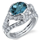 Statuesque 2.00 cts London Blue Topaz Ring Sterling Silver Size 5 to 9