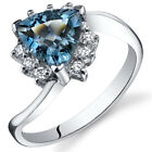 Trillion Cut 1.50 ct London Blue Topaz Bypass Ring Sterling Silver Sizes 5 to 9