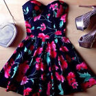 Women Summer Vintage Boho Party Beach Short Mini Dress Floral Sundress Black NEW