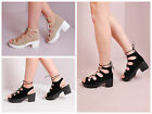 Women Lace Up Cleated Platform Chunky Heel Sandal Block Heel Platform Gladiator