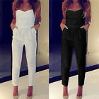 Women Clubwear Strapless Bandeau Playsuit Bodycon Party Jumpsuit Romper Trousers