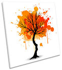 Orange Tree Autumn Abstract SQUARE BOX FRAMED CANVAS ART Picture