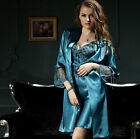 Free shipping  Solid silk Blend 2pcs Women Sleepwear Robe & Gown Sets M/L/XL/2XL