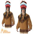 Adult Indian Native American Fringe Shirt Mens Fancy Dress Costume Outfit New
