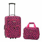 Fashion 2 Piece Leopard Expandable Rolling Luggage Set by Fox Luggage