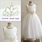 Adorable Ivory tulle wedding flower girl party dress FREE SMALL TIARA all sizes