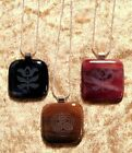 Engraved Fused Square Pendant with Silver-Plated Necklace