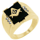 18k Gold Plated Ring with Masonic Symbol with Onyx Accents,Goldtone Finish