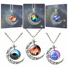 Fashion Galaxy Universe Crescent Moon Necklace Glass Cabochon Pendant Lover Gift