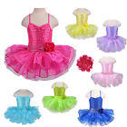 Girls Sequin Ballet Tutu Dress Princess Party Dance Gymnastics Leotards 2-8Y New