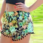 Women Multicolors Print Elastic Waist Shorts Tassel Casual Beach Mini Shorts