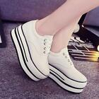 womens sneakers shoes platform flat lace up round toe canvas muffin casual F294