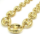 "26-36"" 16.50mm 10k Yellow Gold Mariner Anchor Mens Hip Hop Chain Necklace"