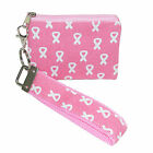 New CTM Womens Pink Ribbon Breast Cancer Awareness Strapz Wristlet Coin Purse