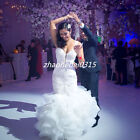 White/ivory Mermaid Wedding Dresses Bling Crystal Bead Bridal Gowns Custom Size