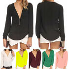 Sexy Womens Ladies Jumpers V Neck Chiffon Long Sleeve Blouses Loose T-Shirt Tops