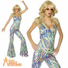 Dancing Disco Queen Costume Halterneck Catsuit 70s Ladies Fancy Dress 8-18