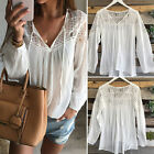 Sexy Fashion Women's Lace Tops Tee Long Sleeve Shirt Casual Blouse Loose T-shirt