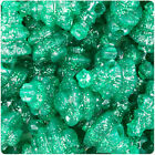 24 Emerald Green Sparkle 25mm Christmas Tree Pony Beads Made in the USA