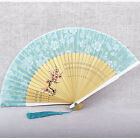 Japanese Style Hand Painted Flower Pattern Wooden Silk Folding Fan Craft Gifts