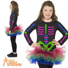 Child Neon Skeleton Girl Costume Halloween Fancy Dress Outfit New