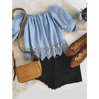 Fashion Summer Women Lady Lace Off-shoulder Casual Blouses Crop Tops T-Shirt