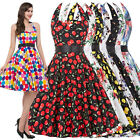 50S 60S VINTAGE STYLE POLKA DOT HALTER HOUSEWIFE EVENING DRESS ROCK N ROLL  PROM