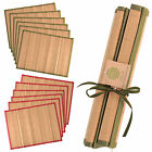 Set Of 6 Satin Ribbon Tied Bamboo Placemats Coloured Edge Dining Table Mat