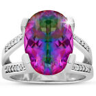 5 1/2ct Oval Shape Mystic Topaz and Diamond Ring In Sterling Silver