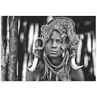 Black & White Indigenous Art Ethiopian Woman Photo Mursi Headdress Decor Metal