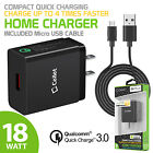 Qualcomm Certified 18 Watt Fast Home Charger + USB Data Cable for HTC Cell Phone