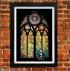 BANKSY STAINED GLASS POSTER FRAMED WALL ART PRINT PICTURE SMALL MEDIUM LARGE