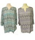 Womens PLUS Size TOP 3/4 Sleeve Blue/Purple BLOUSE 1X/2X/3X USA Free Shipping